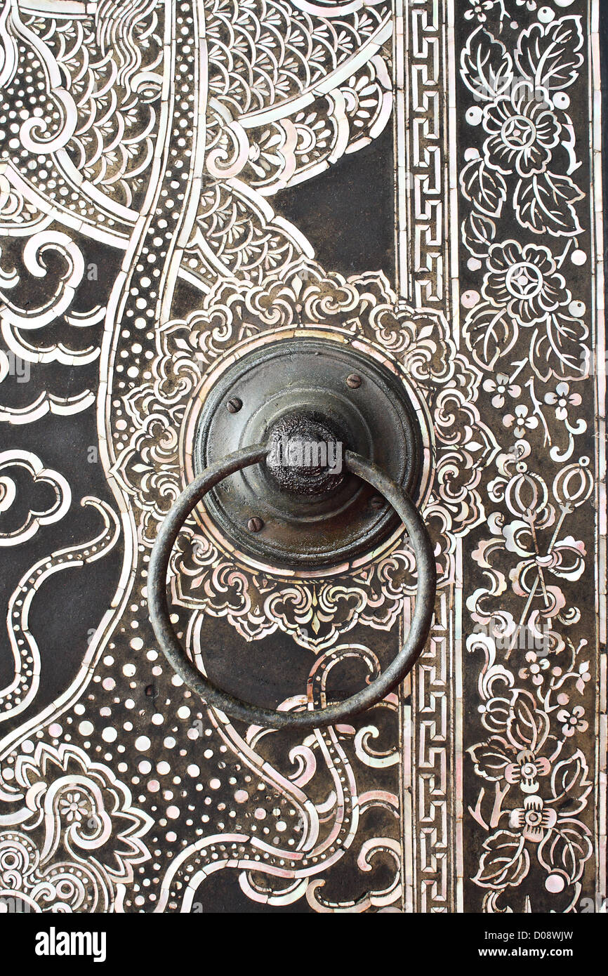 Native Thai style wood carving on door at temple & Native Thai style wood carving on door at temple Stock Photo ... Pezcame.Com
