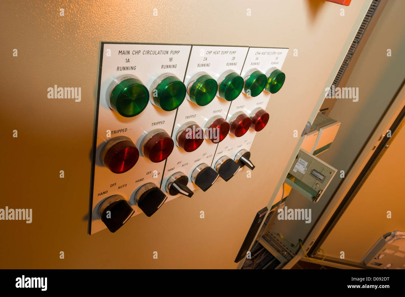 exterior of control panel to industrial heating pump switches and ...