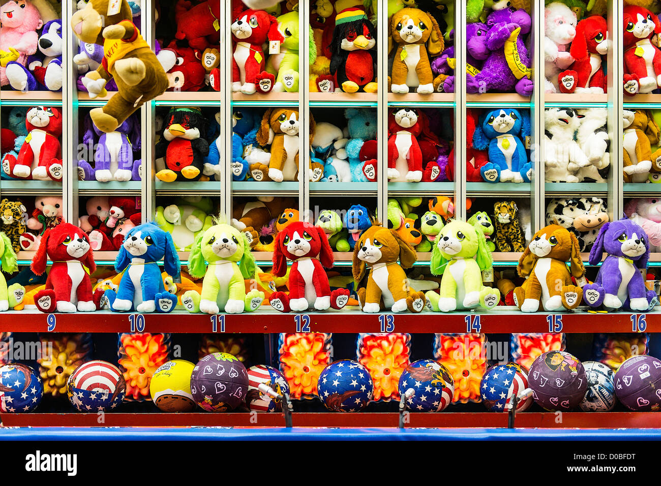 Toy Raffle Prizes : Stuffed animals prizes at a carnival booth game stock