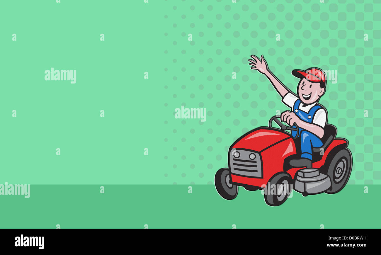 Business card ideal for lawn mowing services showing illustration of business card ideal for lawn mowing services showing illustration of a gardener landscaper riding on ride on mower mowing lawn d colourmoves