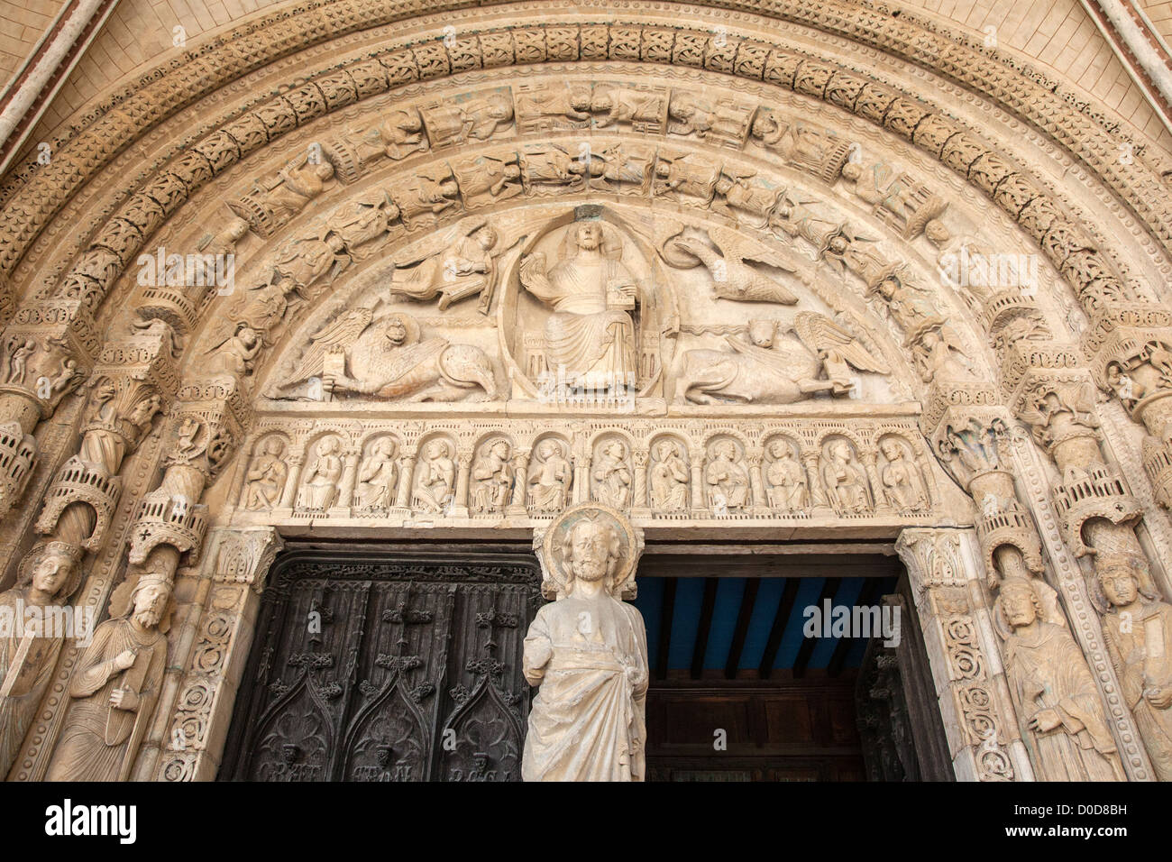 sculpture on south porch cathedral saint etienne in bourges gem stock photo royalty free image. Black Bedroom Furniture Sets. Home Design Ideas