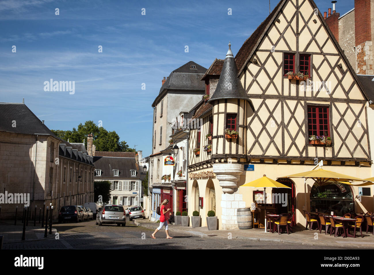 Half timbered house with a corbelled turret old town of bourges stock photo royalty free image - Stock industriel bourges ...
