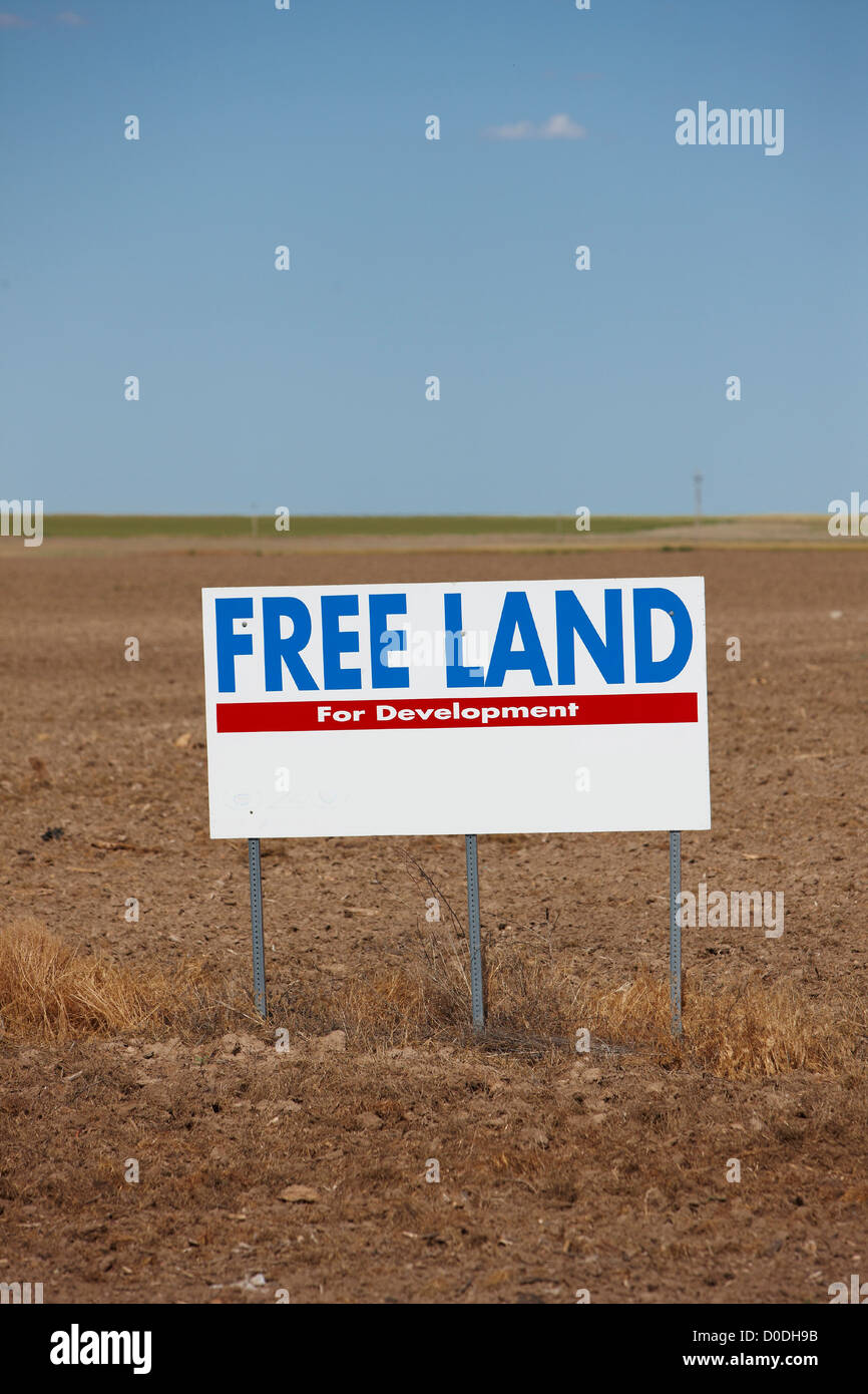 free land sign western kansas stock photo royalty free