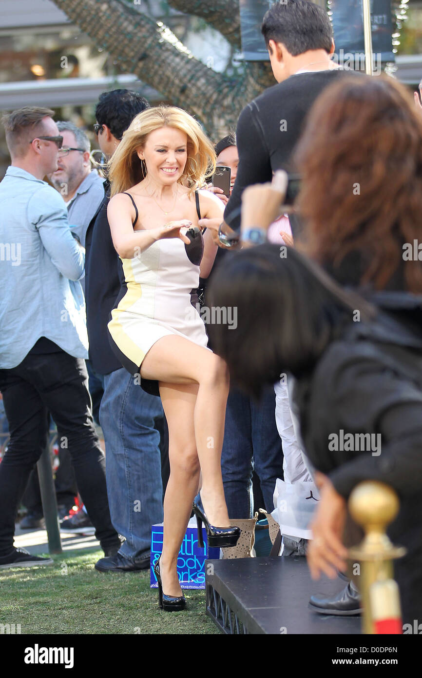 singer kylie minogue wearing a two tone dress arrives for the singer kylie minogue wearing a two tone dress arrives for the extra tv show interview at the grove los angeles california