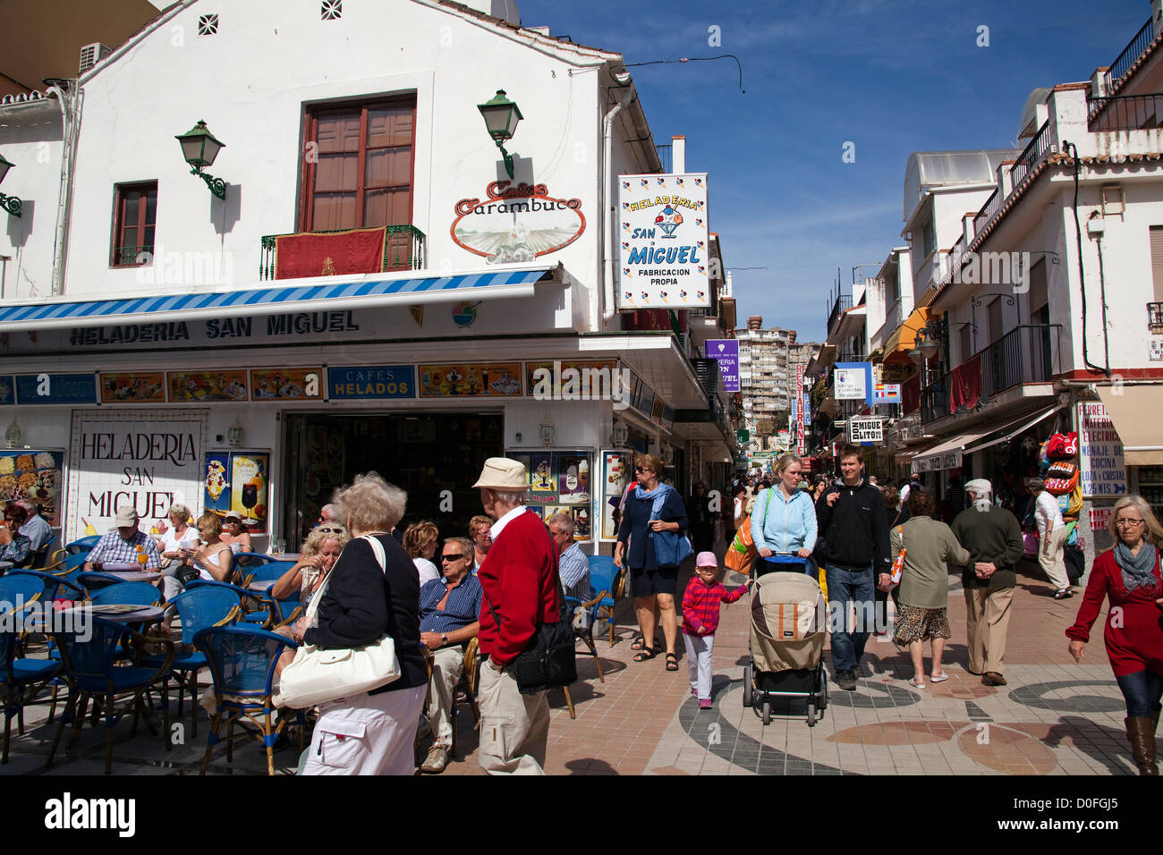 San Miguel Street Torremolinos Malaga Andalusia Spain Calle San Stock Photo, ...
