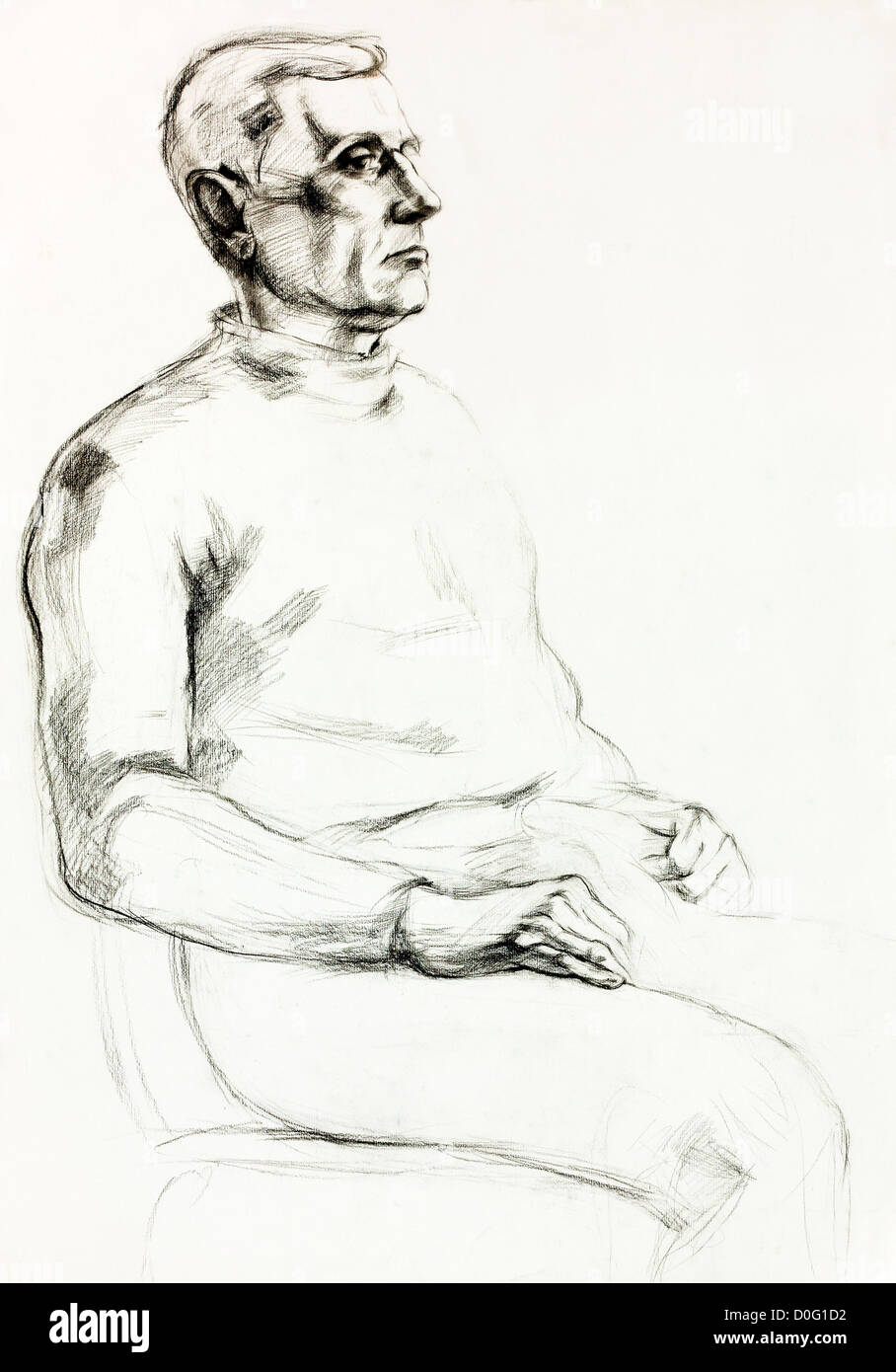 Man sitting in chair drawing - Original Pencil Or Drawing Charcoal And Hand Drawn Painting Or Working Sketch Of A Man Sitting In A Chair Free Composition