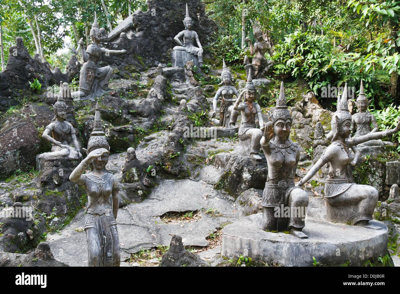 Stone Sculptures In The Tamin Magic Buddha Garden On Ko Samui