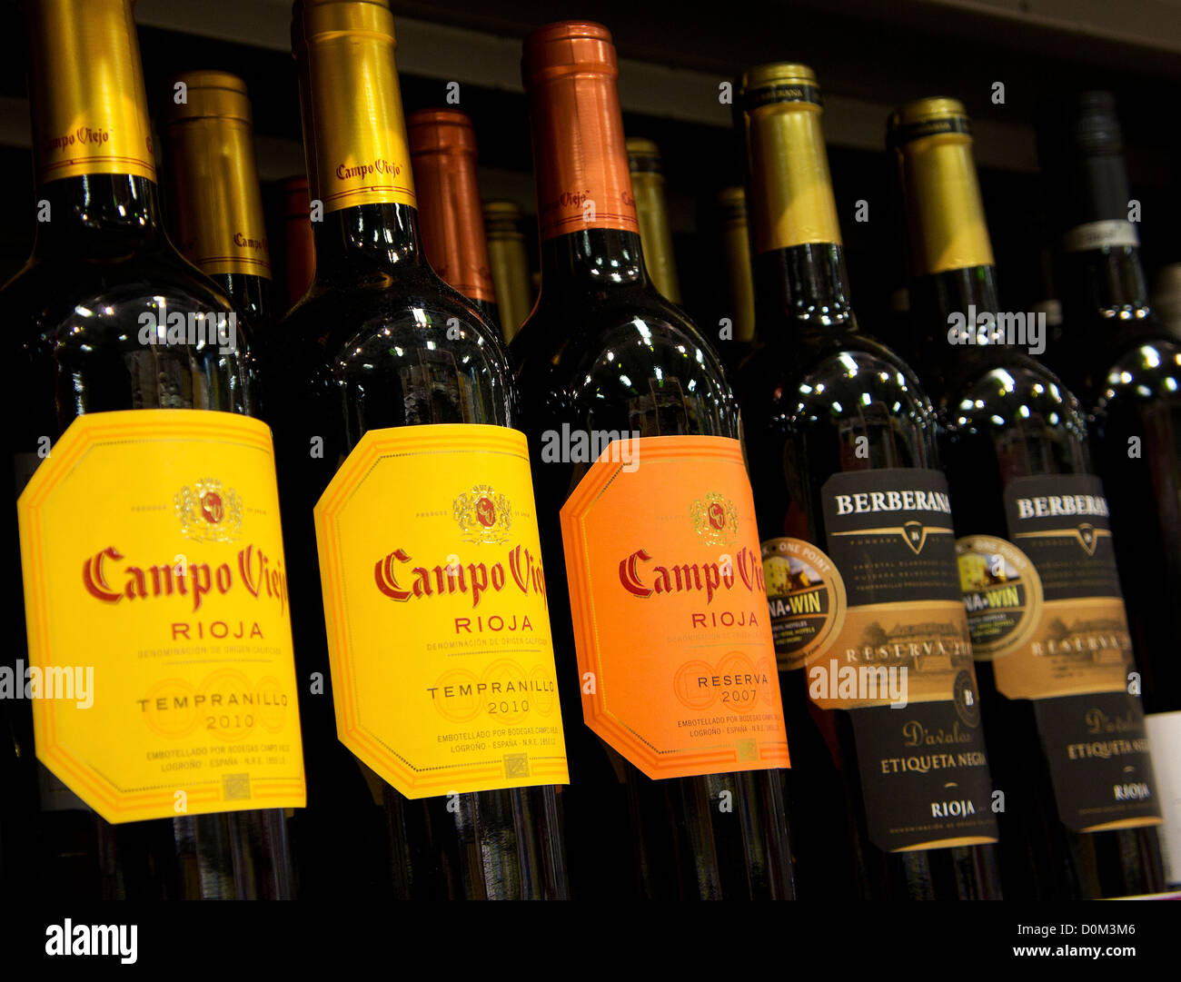 bottles of spanish rioja wine in a uk supermarket Stock Photo, Royalty Free Image: 52073062