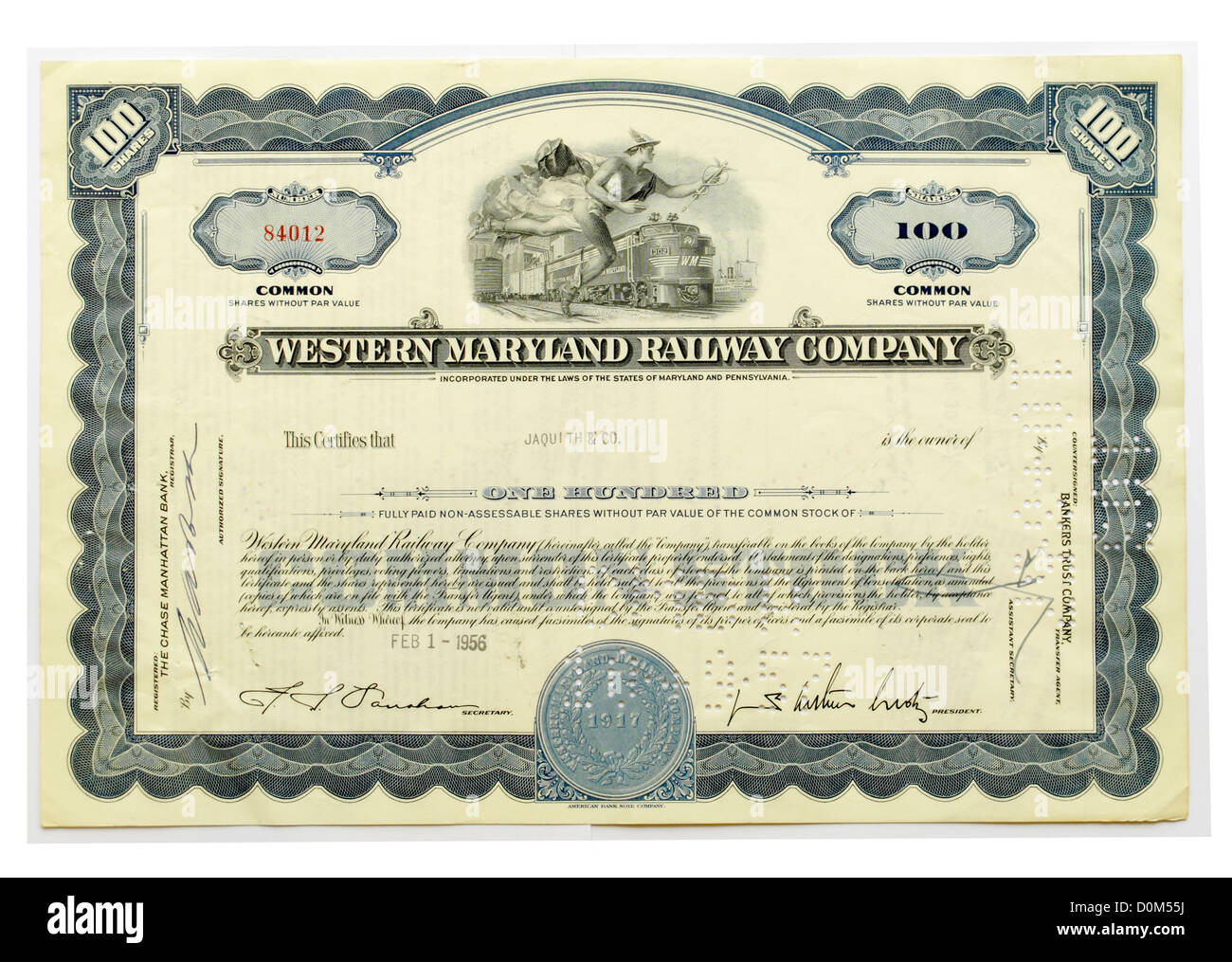 Share Certificate Of The Western Maryland Railway Company Company – Company Share Certificates