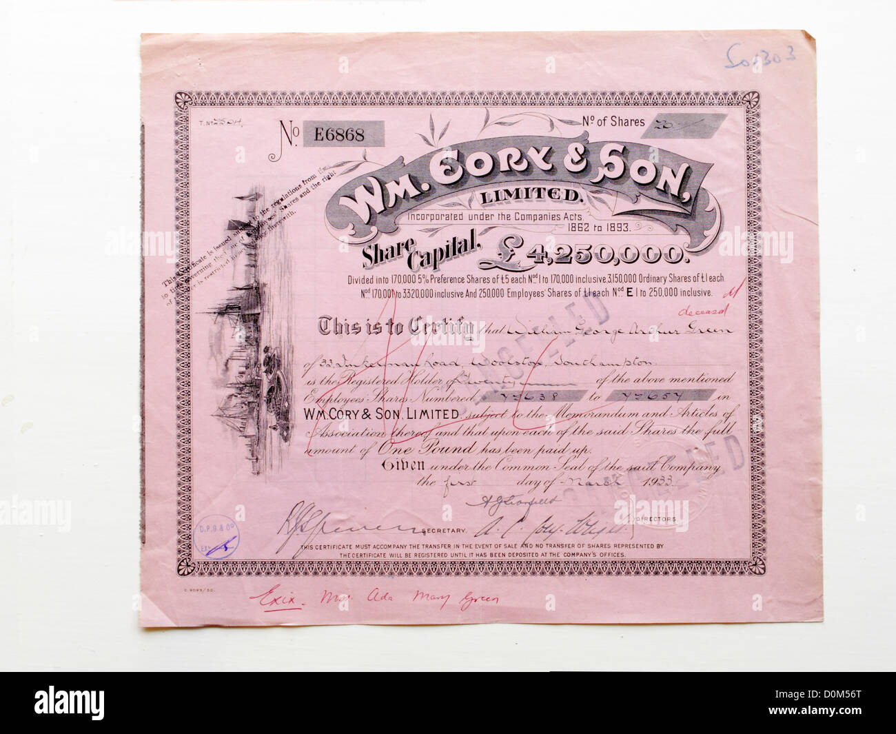 Share certificate of William Cory and Son Victorian coal shipping – Company Share Certificates