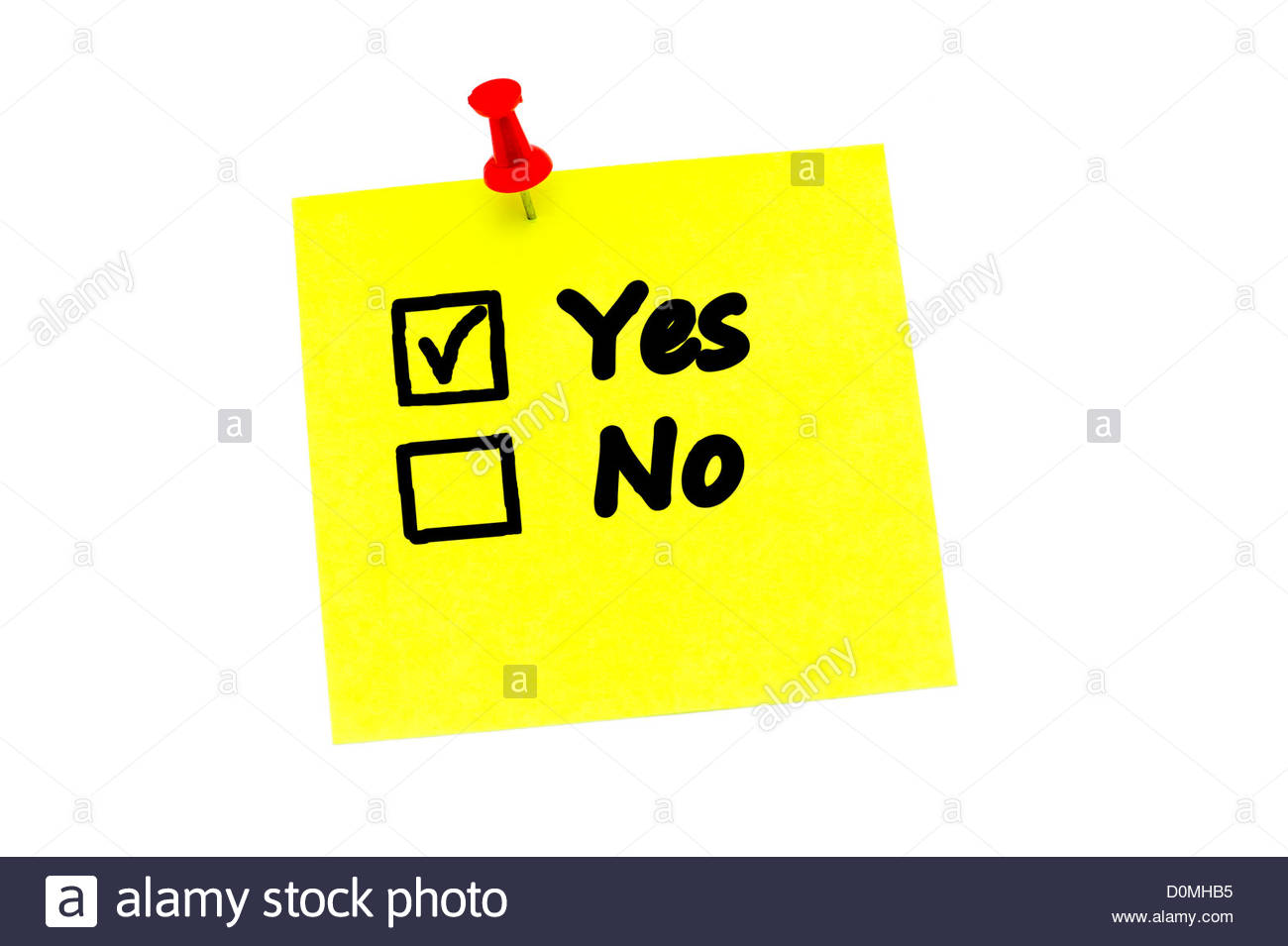 Yes No tick boxes on a yellow post it note held in place ...