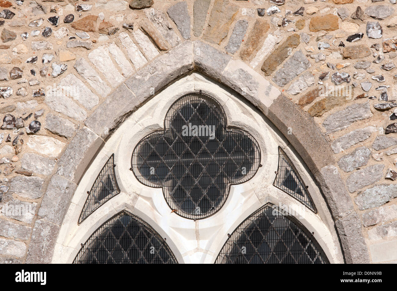 Palladium Stone Around Window : Detail of stone and flint work around an old arched window