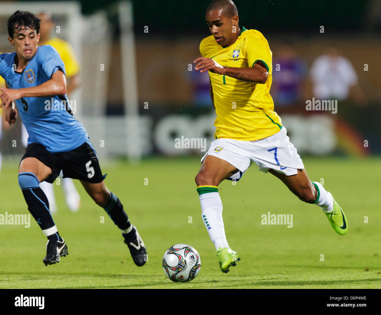 Alex Teixeira of Brazil on the against Uruguay during the