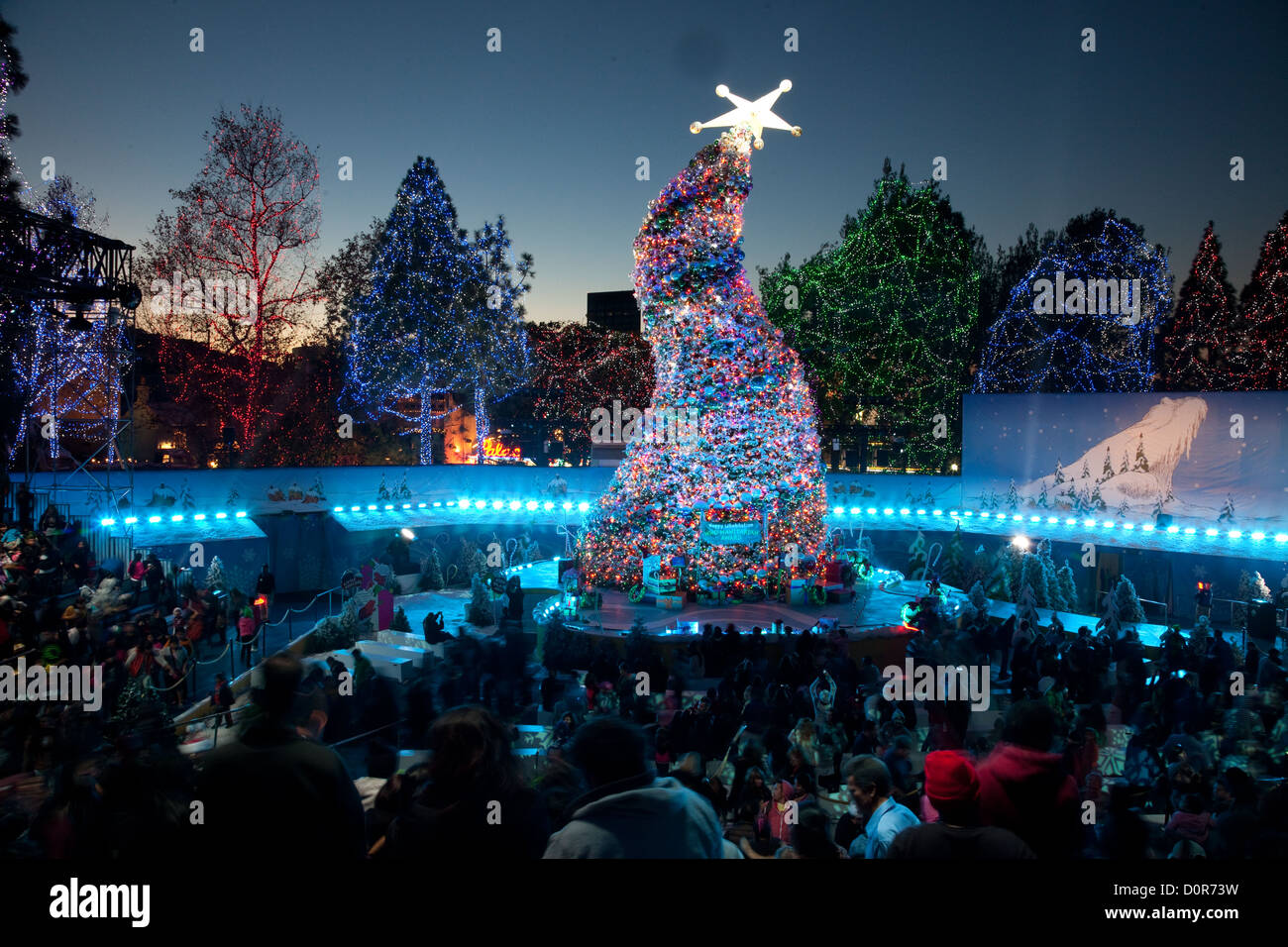 The crooked Christmas tree at Grinchmas at Universal Studios Stock ...
