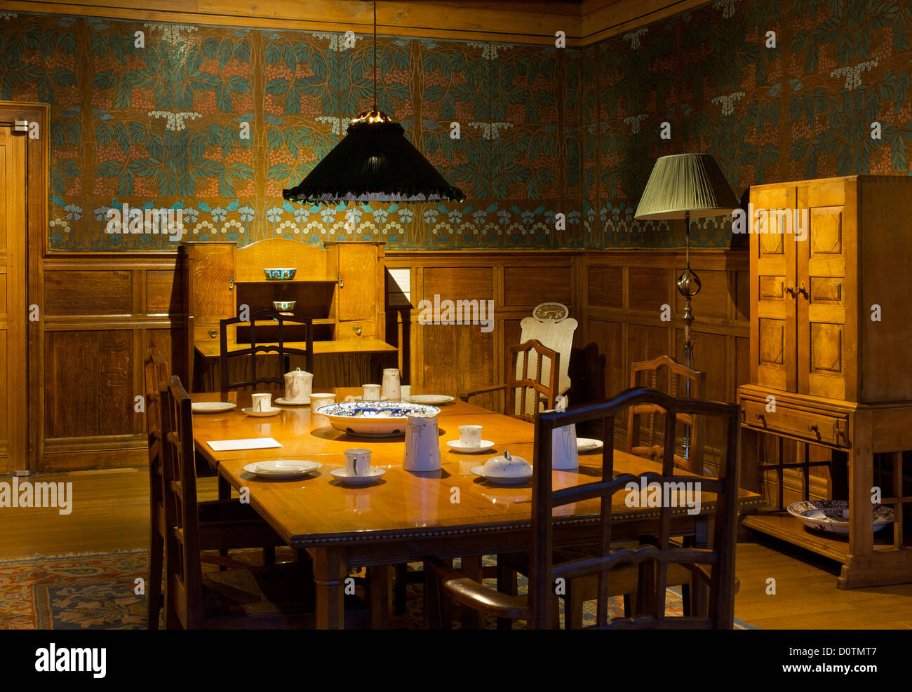 Dining Room In Blackwell Arts And Crafts House Overlooking Lake Windermere Near Bowness Cumbria England UK