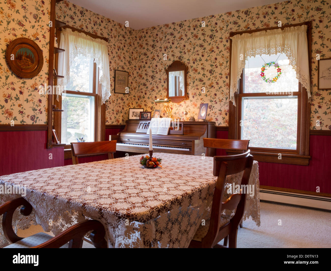 Dining Room Early American Decor PA USA Stock Photo Royalty