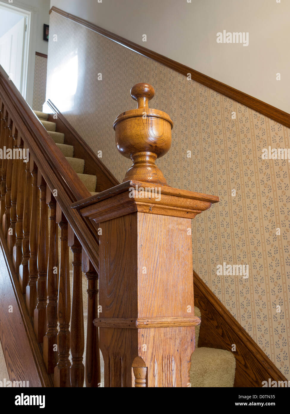 Decorative Finial On Newel Post ,Balustrade And Staircase, Residential  House   Stock Photo
