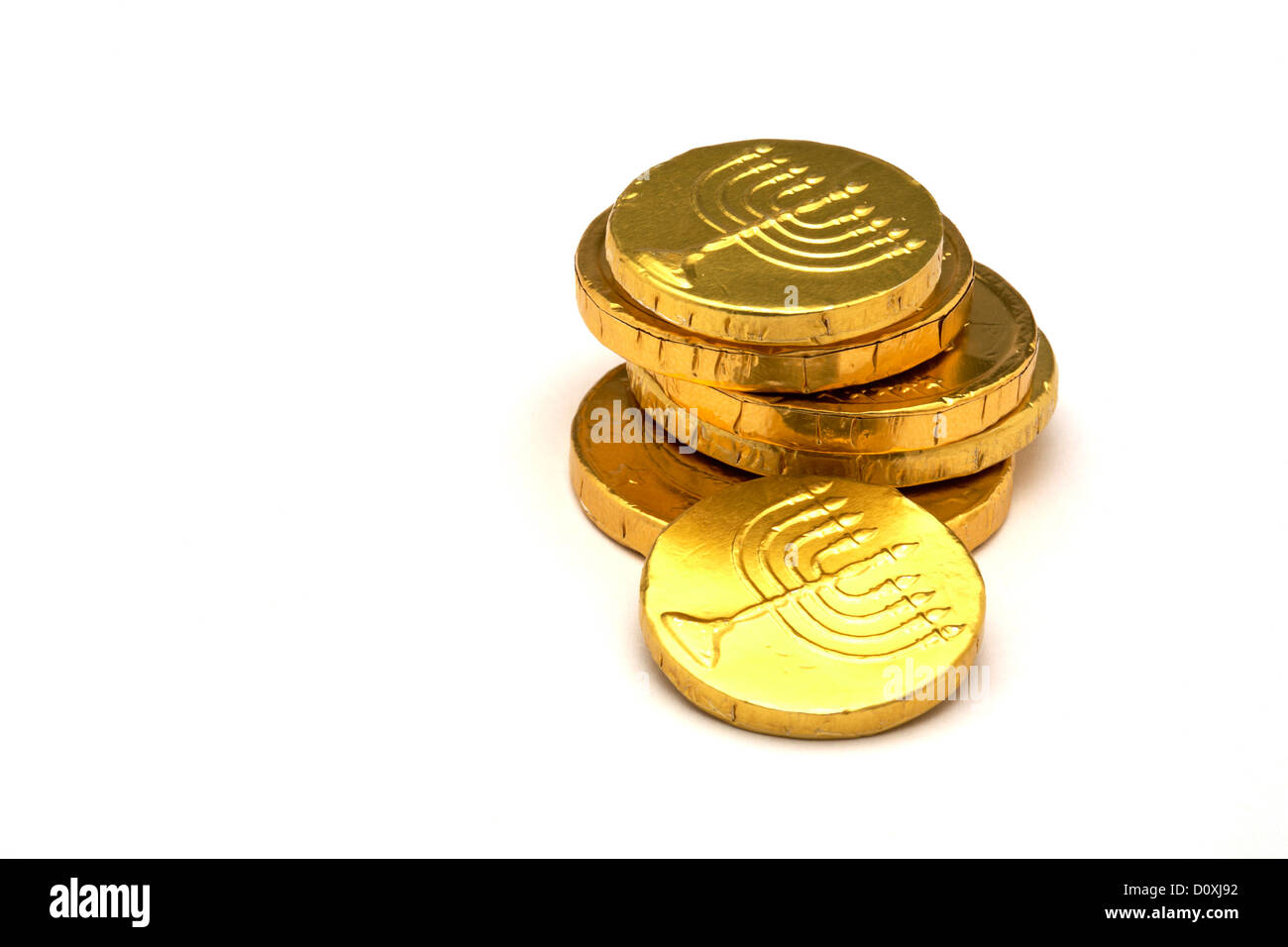 Chocolate Gold Coins wrapped in Gold foil with Jewish Menorah ...