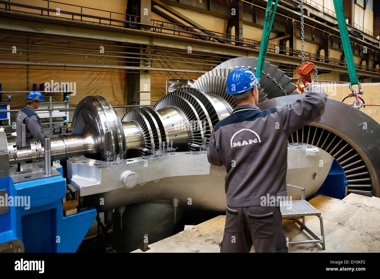 Oberhausen, Germany, industrial mechanic working on a steam ...