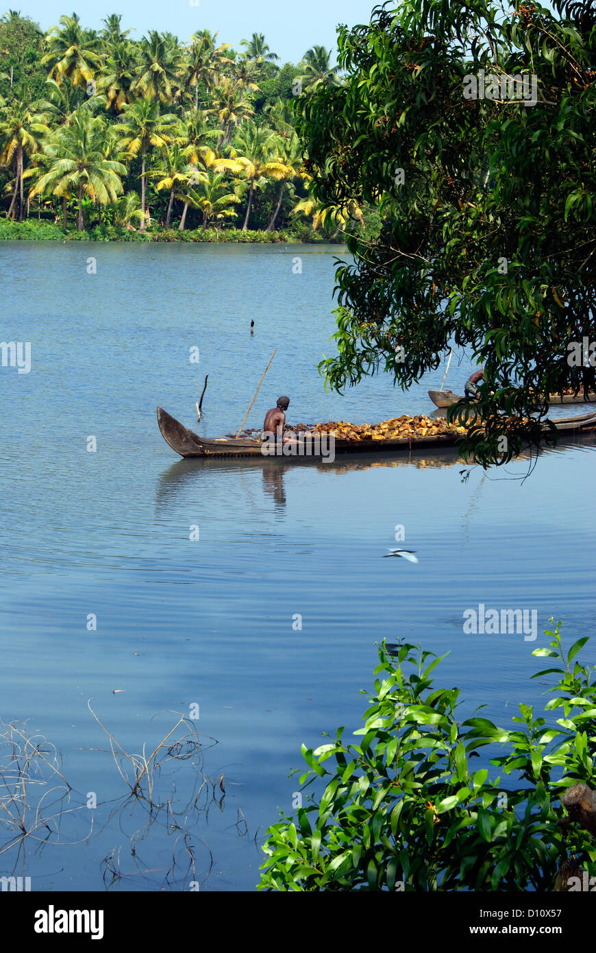 scenery view of kerala backwaters boat carrying raw