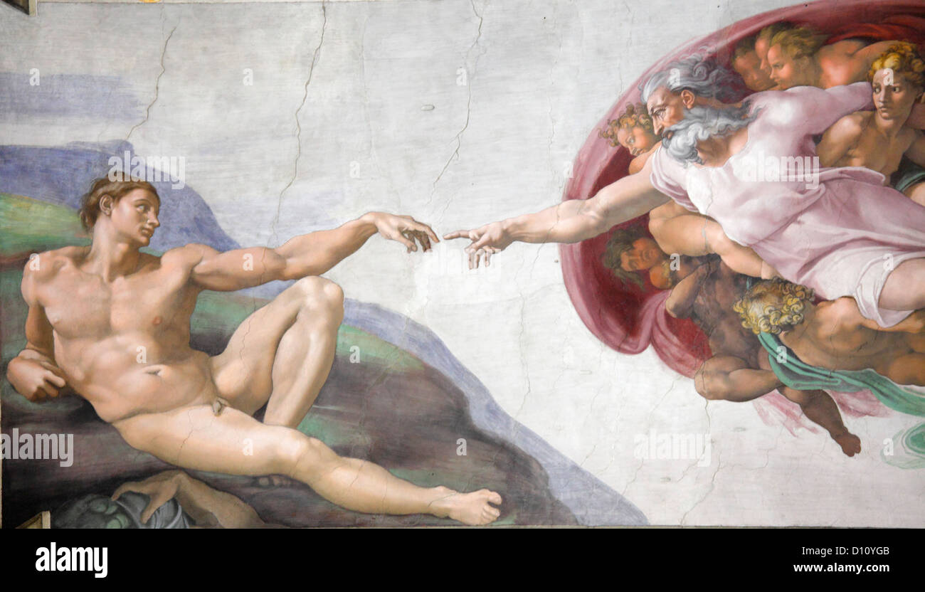 The Creation of Adam by Michelangelo at the Sistine chapel ...