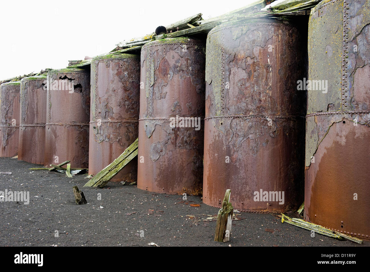 Large Metal Storage Containers In A Row; Whalers Bay Antarctica