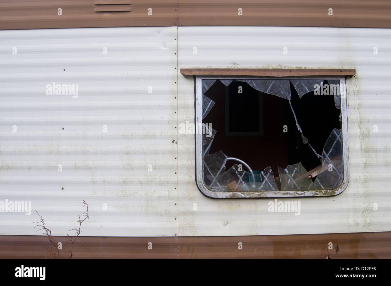 derelict mobile home homes trashed smashed window windows vandalized ...