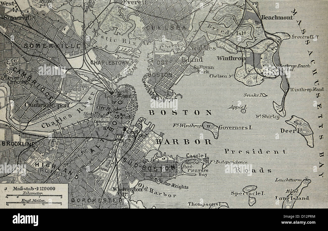Stock Po Vintage Old Map Of Boston Harbor At The End Of 19th Century