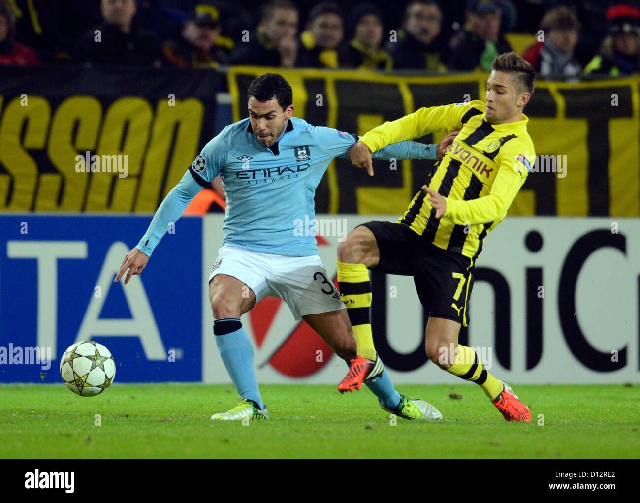 Carlos Dortmund dortmund s moritz leitner r and carlos tevez of manchester vie for