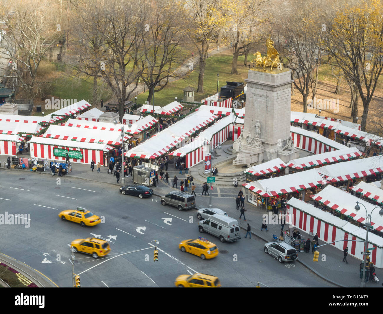 Holiday Christmas Market at Columbus Circle, NYC Stock Photo ...
