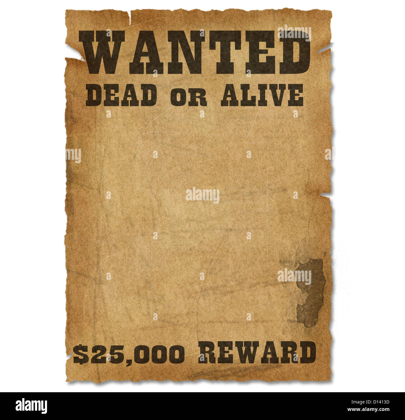Wanted Poster Template With Bounty Reward