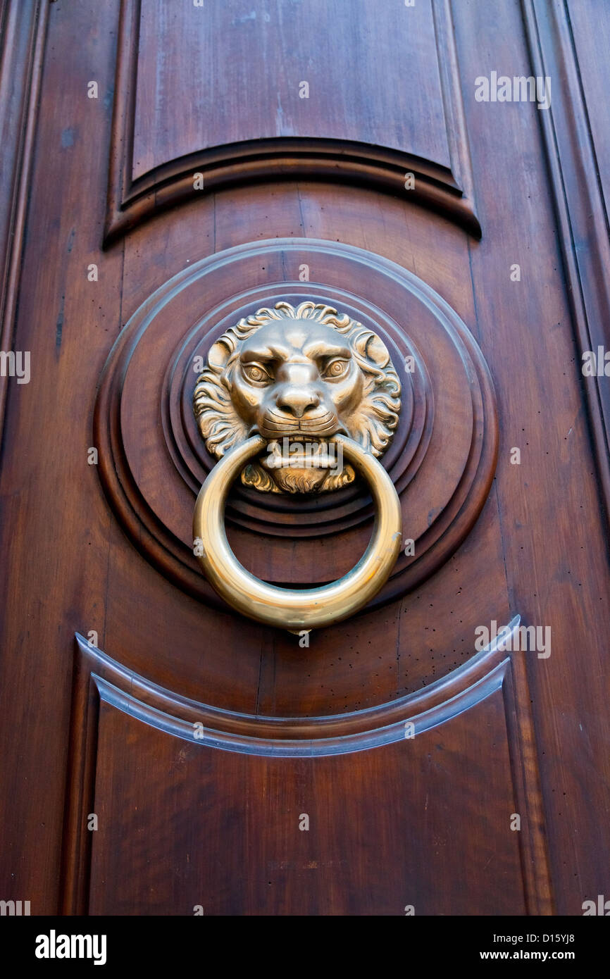 lion head shaped door handle in expensive urban door Stock Photo ...