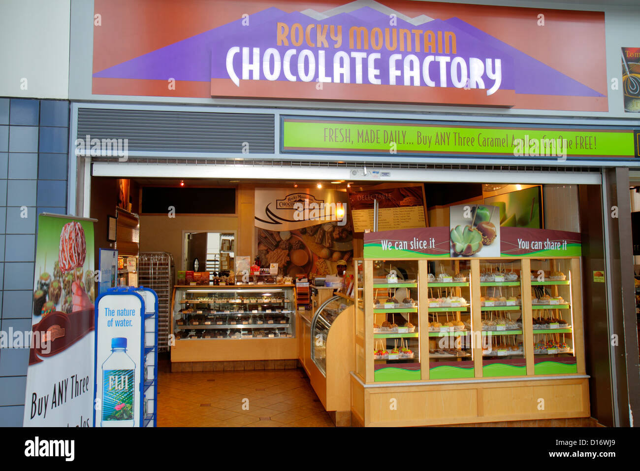 rocky mountain chocolate factory shop in departure lounge of ...