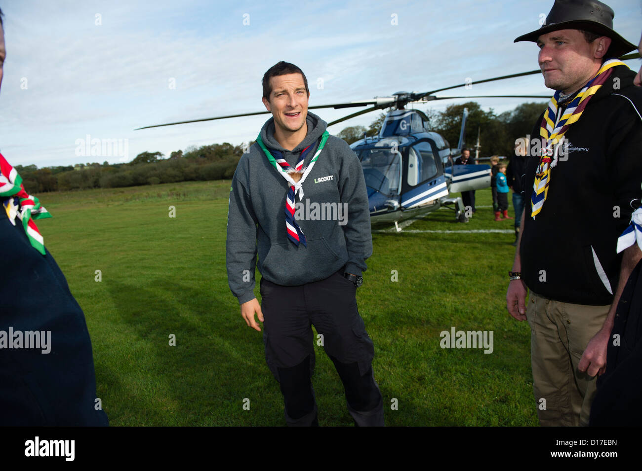 Chief Scout BEAR GRYLLS meeting welsh girl and boy scouts at a ...