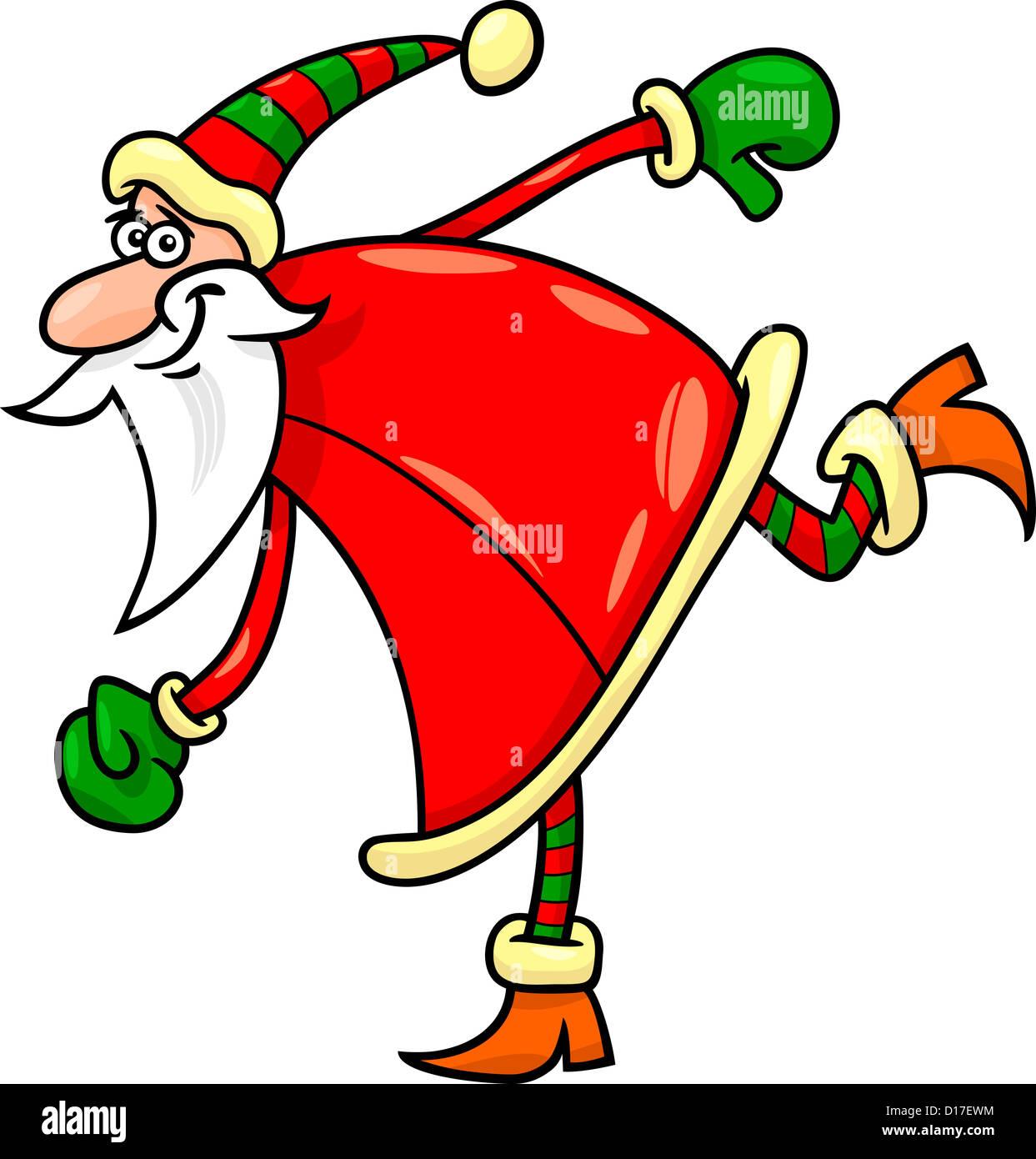 cartoon illustration of funny running or sliding santa claus or