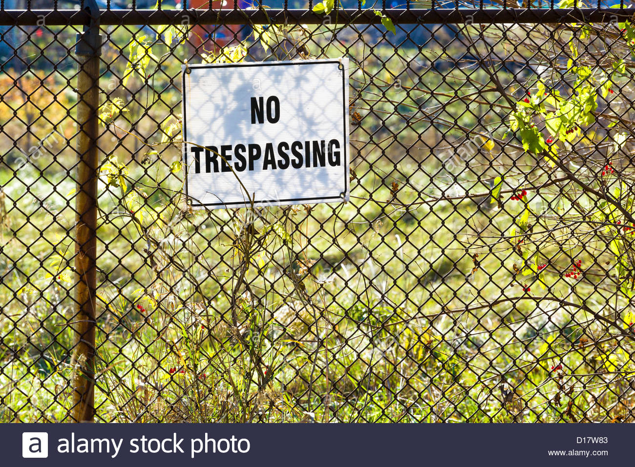 no trespassing sign on chain link fence in toronto ontario canada stock image