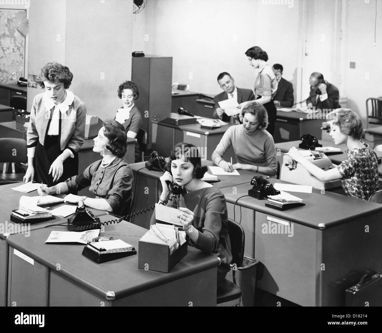 Busy Office In The 1950-1960's Stock Photo, Royalty Free