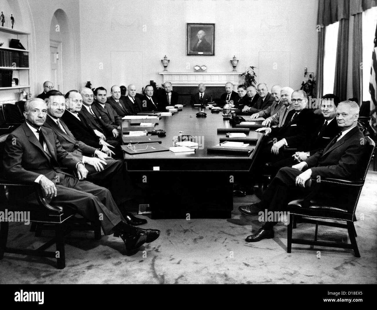 President Eisenhower poses with his second term Cabinet. Clockwise ...