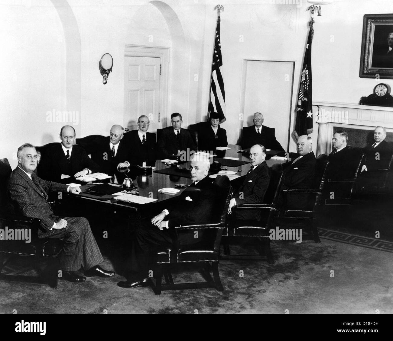 franklin roosevelt's second term cabinet. at head of table is fdr