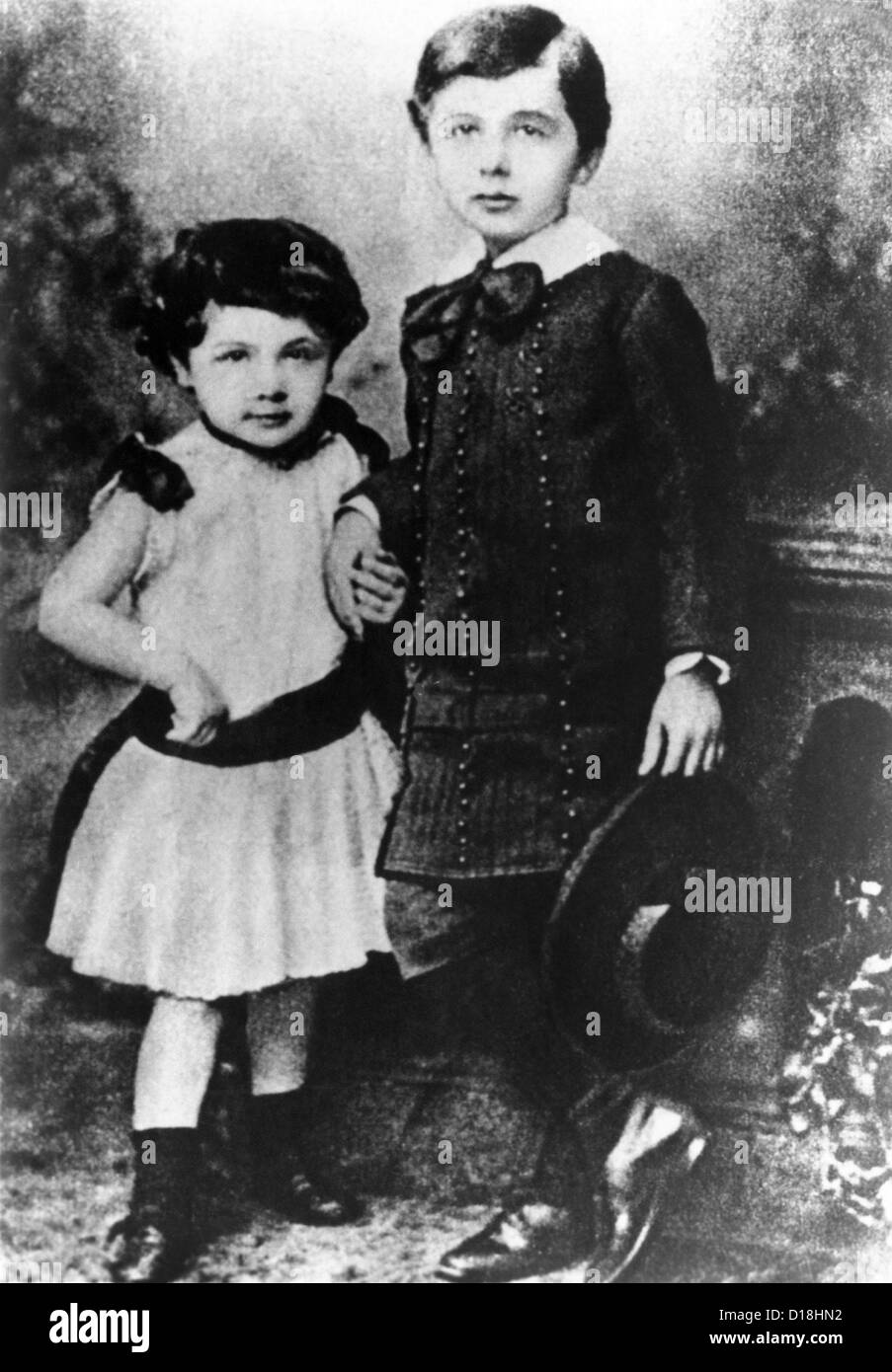 albert einstein about five years old with his younger