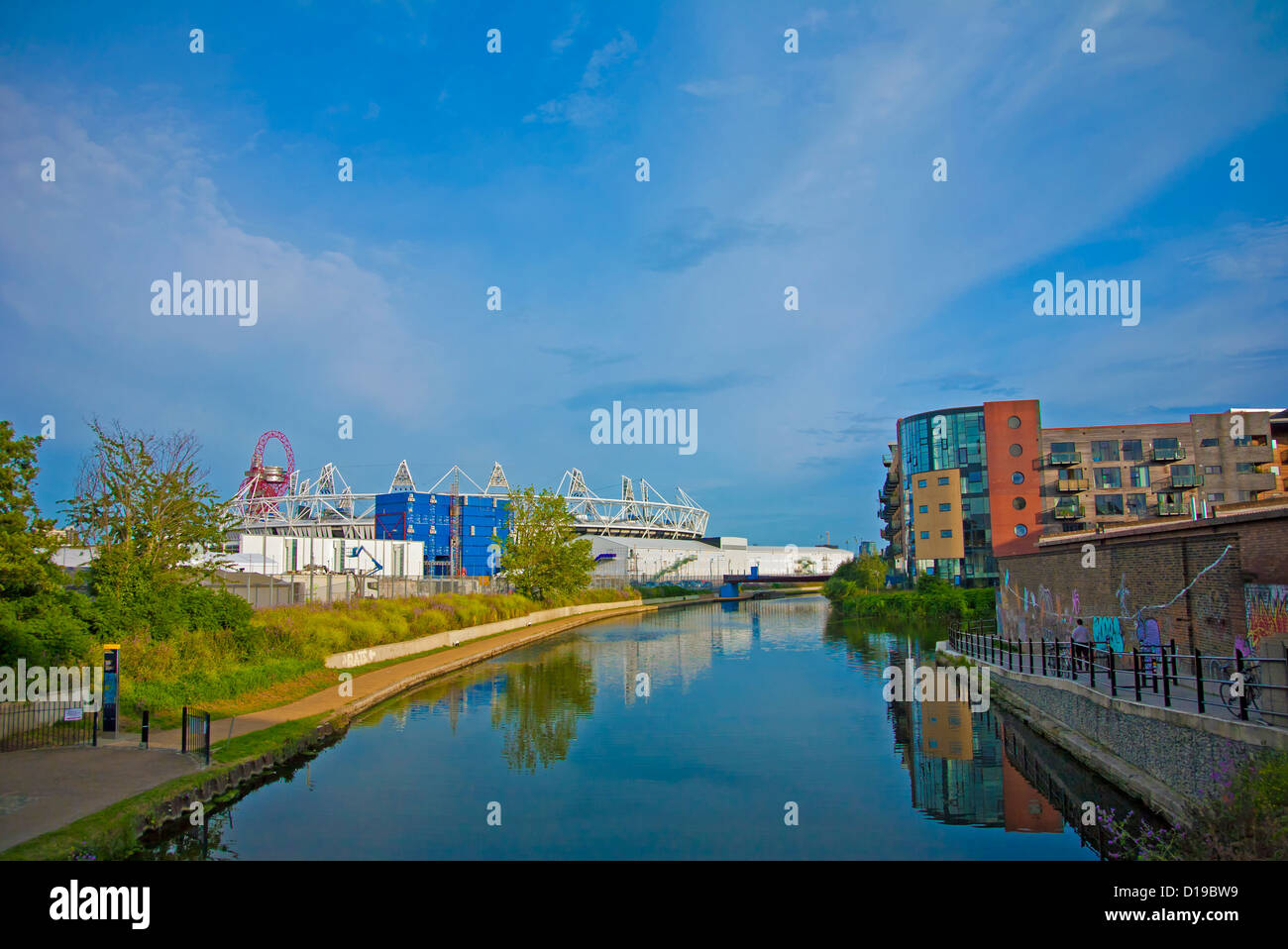 View of the olympic stadium and arcelor mittal orbit in stratford view of the olympic stadium and arcelor mittal orbit in stratford across the river lea navigation hackney wick east london buycottarizona