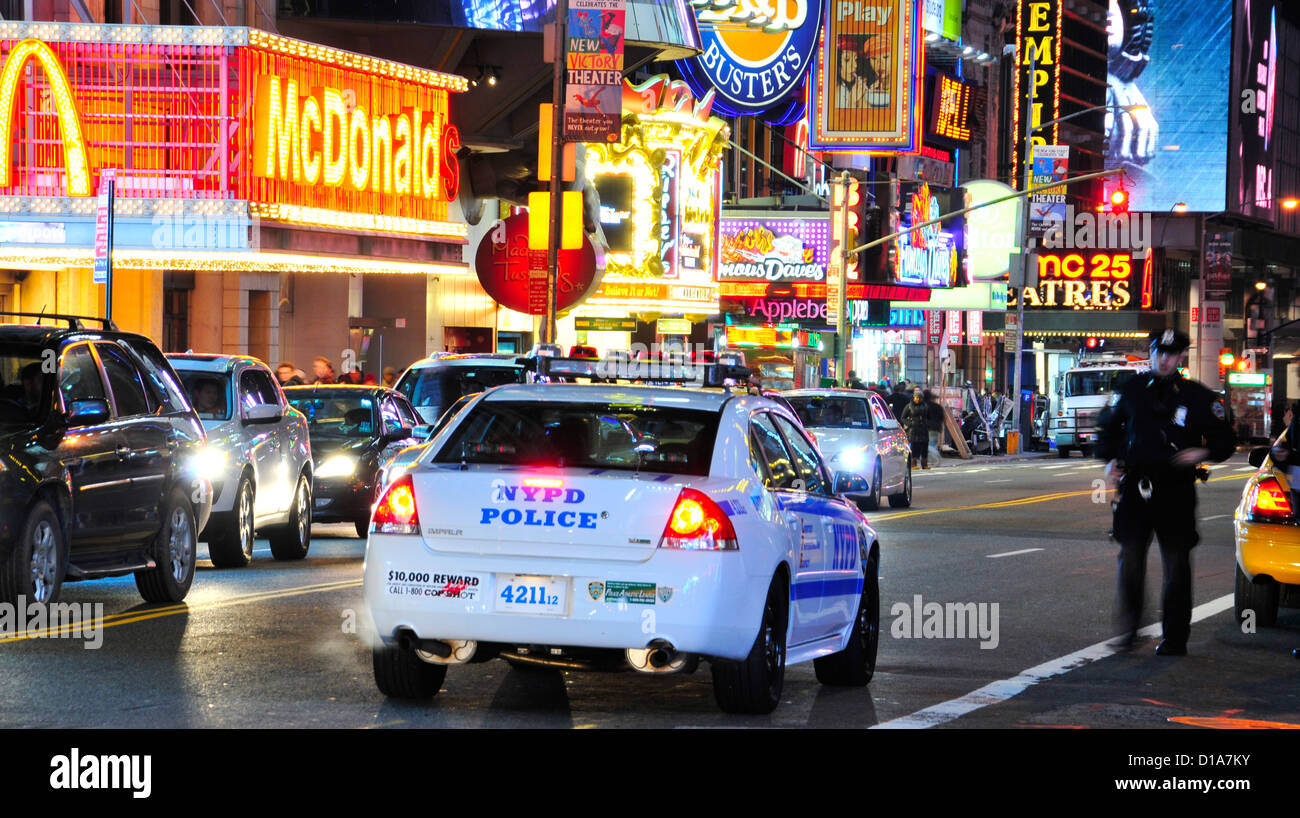Nypd new york city police department squad car 42nd street broadway