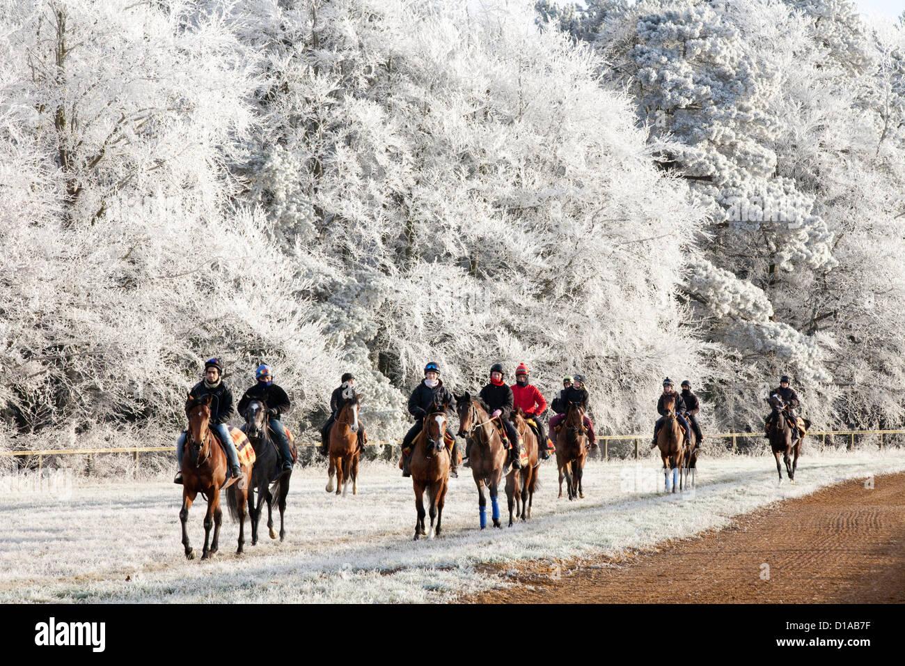 Horses_and_jockeys_riding_on_a_frosty_wi