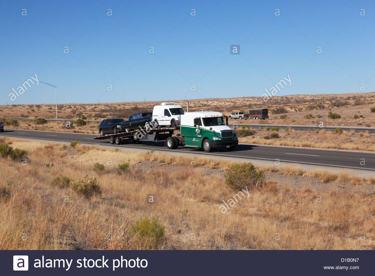 Tractor trailer hauling used cars on interstate highway Arizona 2 ...