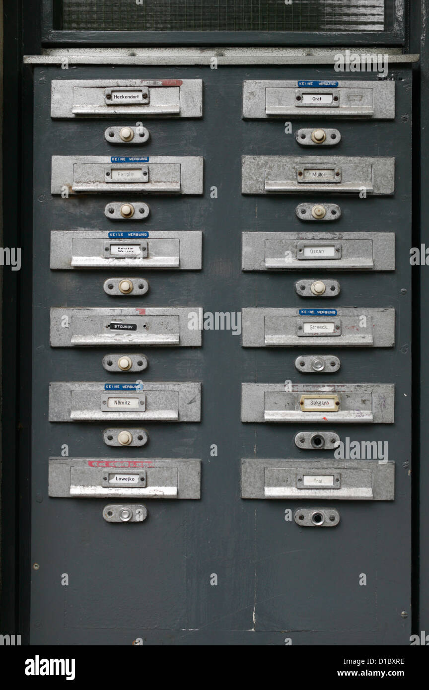 Berlin, Germany, doorbell at an apartment building Stock Photo ...