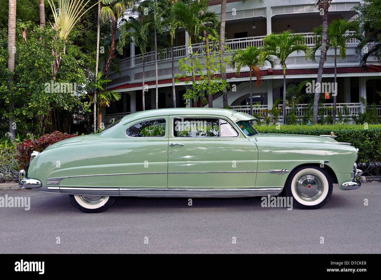 1951 hudson hornet vintage american sedan car at a concours delegance rally thailand