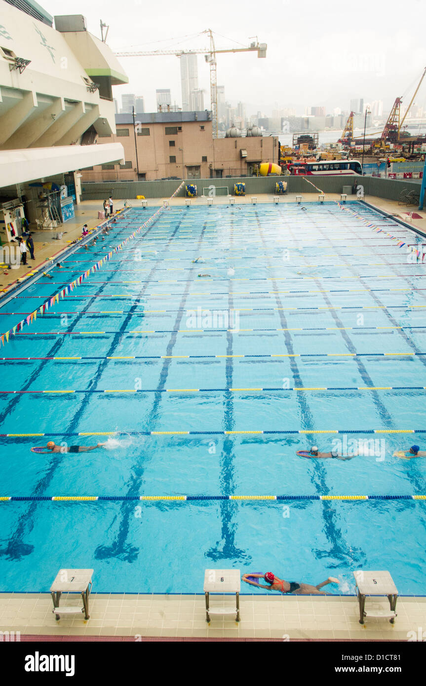 Public Swimming Pool public swimming pool in wanchai sports center of hong kong stock