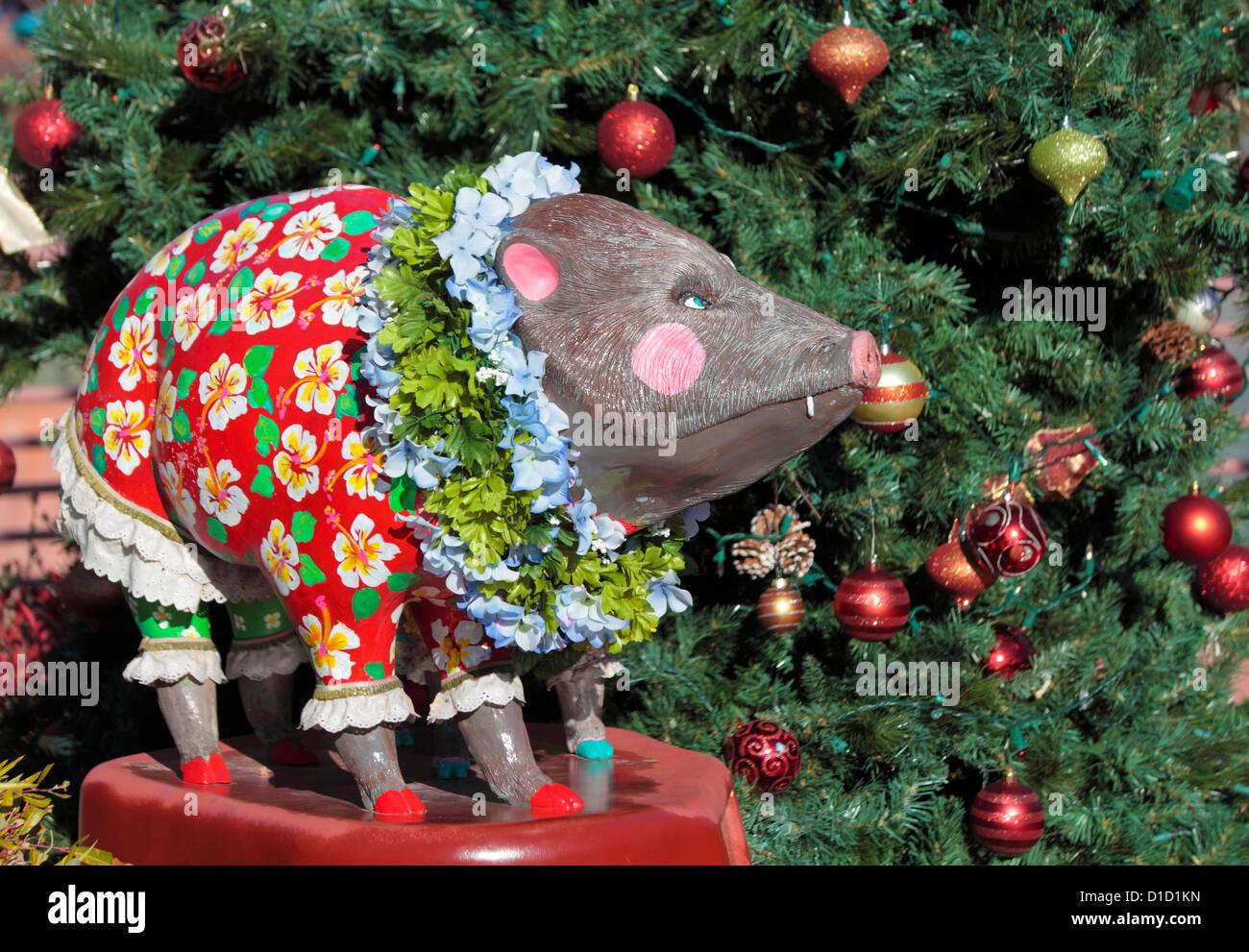 Christmas Tree Hawaii Part - 38: Hawaii-theme Javelina Artwork By Christmas Tree On Display In The City Of  Sedona During The Holiday Season