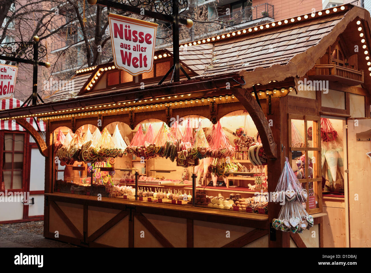 Traditional Christmas Wooden Market Stall Selling Sweets