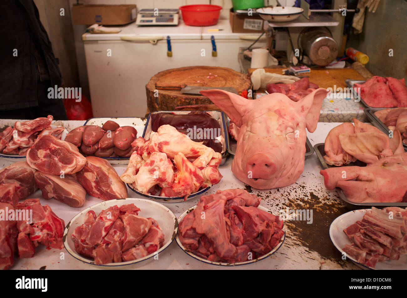 Pig's heads are one sale along with other parts of pork ...